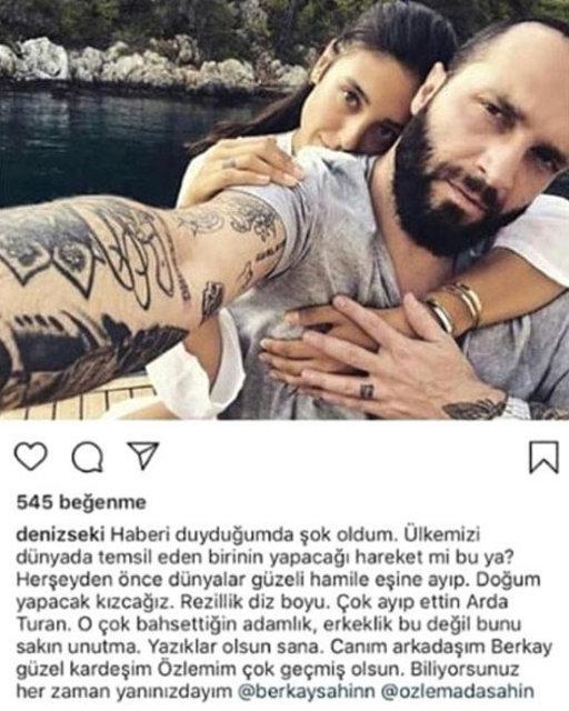 Deniz Seki'den Berkay Şahin'e destek: Çok ayıp ettin Arda Turan! - Magazin haberleri