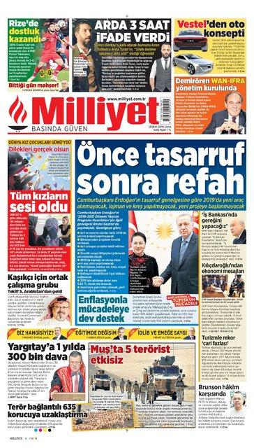 Günün gazete manşetleri (12 Ekim 2018)