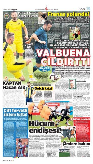Günün spor manşetleri (13 Ekim 2018)