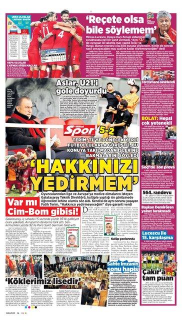Günün spor manşetleri (14 Ekim 2018)