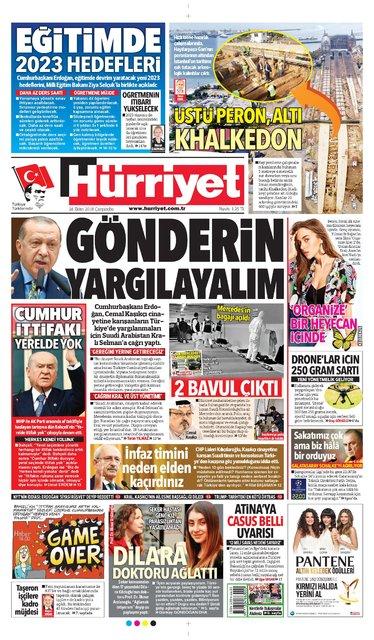 Günün gazete manşetleri (24 Ekim 2018)