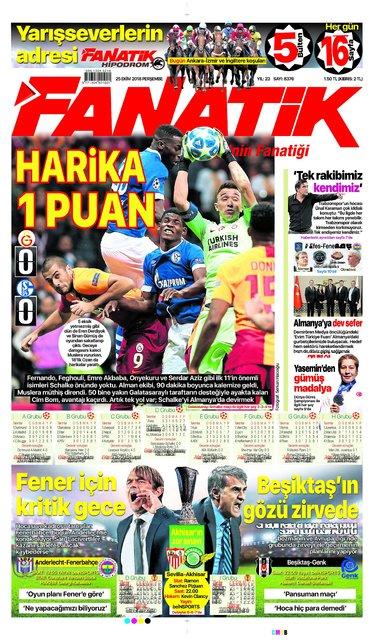 Günün spor manşetleri (25 Ekim 2018)