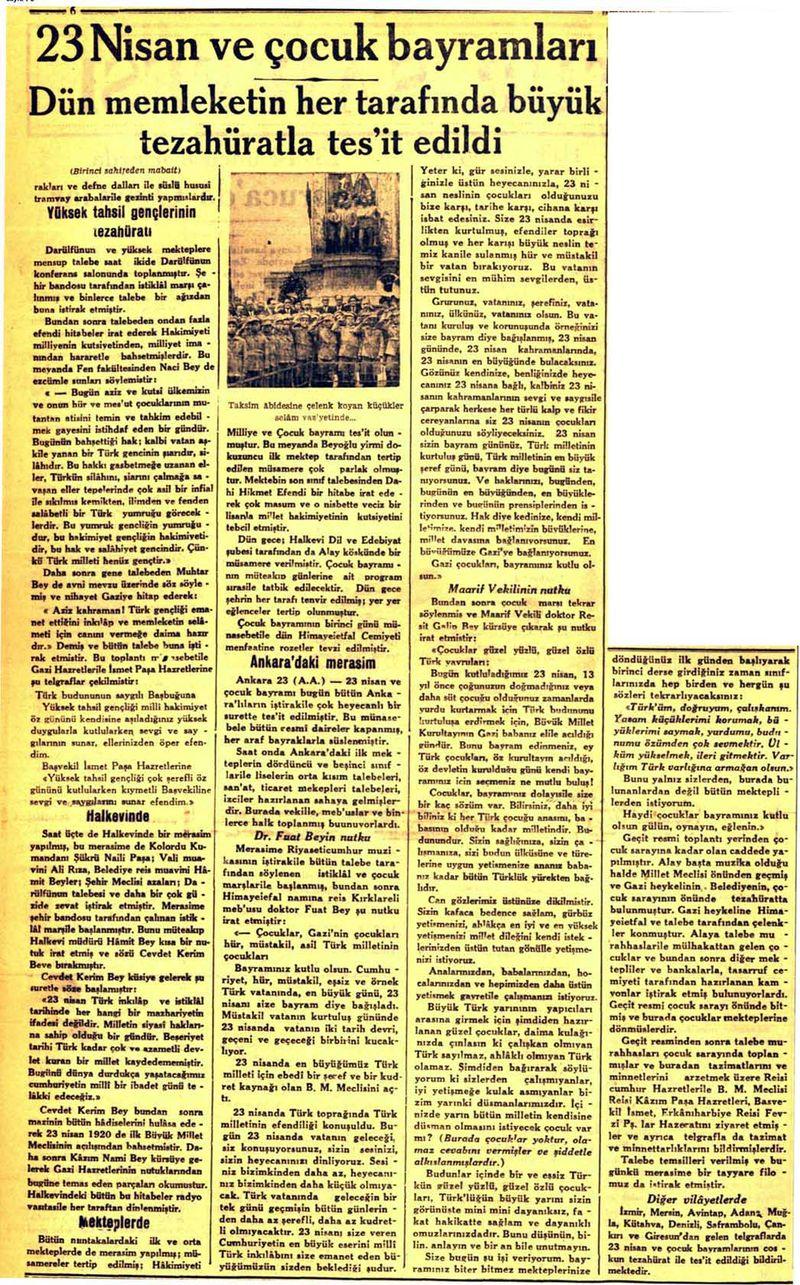 """""""Andımız""""ın ilk okunuşu ile ilgili bir gazete haberi…"""