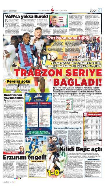 Günün spor manşetleri (28 Ekim 2018)