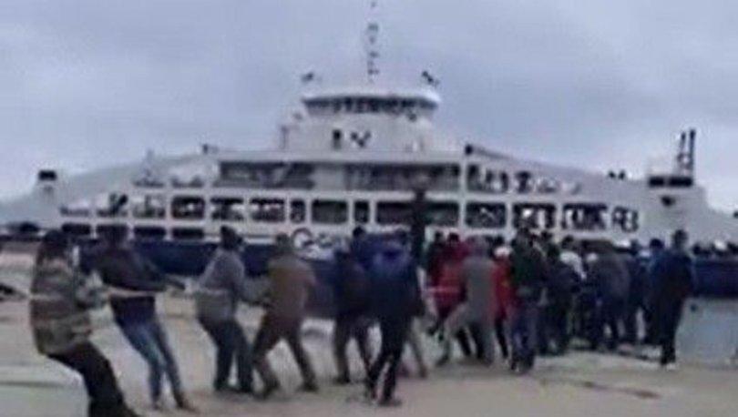 gemi halatla çekildi