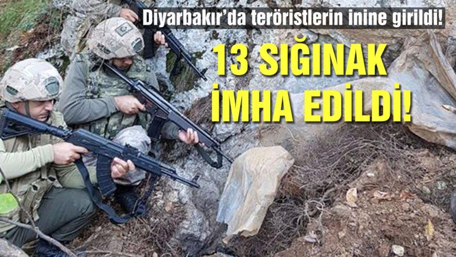 Diyarbakır'da teröristlerin inlerine girildi! 13 sığınak imha edildi!