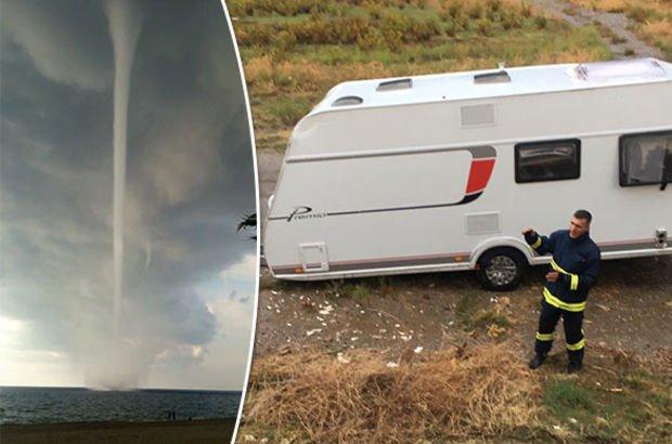 Antalya'da korku dolu anlar! Karavanıyla birlikte havalandı