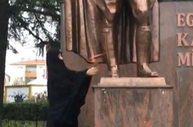 Tekirdağ polisi yakaladı! Atatürk heykeline baltayla saldırdı!