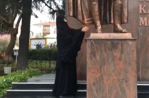 Atatürk büstüne baltayla saldıran kadınla ilgili yeni gelişme