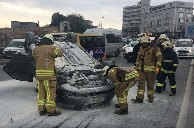 Atatürk Köprüsü'ne girişte otomobil takla attı, trafik felç...