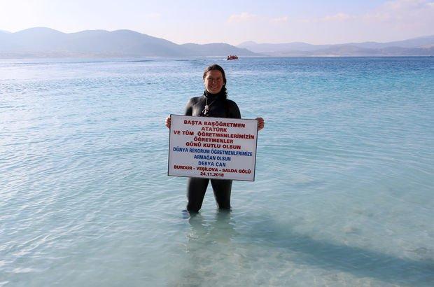 Serbest dalış rekoru Salda Gölü Derya Can