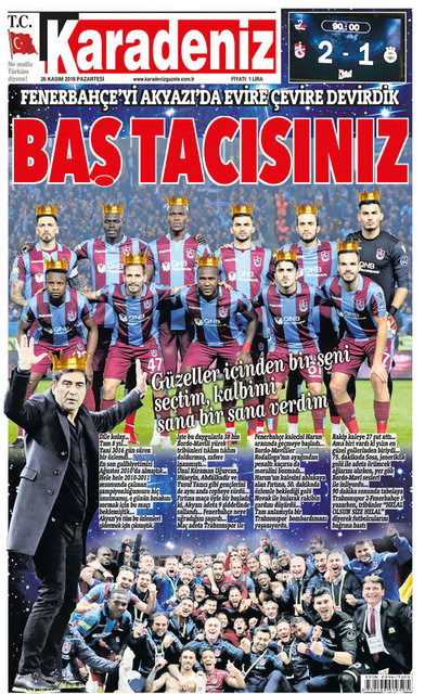 Trabzon press the title of the local Fenerbahce match