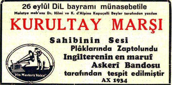"""1934'de plâğa okunan """"Okay""""lı Kurultay Marşı'nın gazetelerdeki ilânı."""