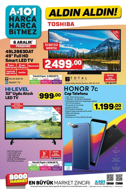 A101 6 Aralık aktüel ürünler kataloğu! Bu hafta A101'de uygun fiyata Honor 7c cep telefonu var!