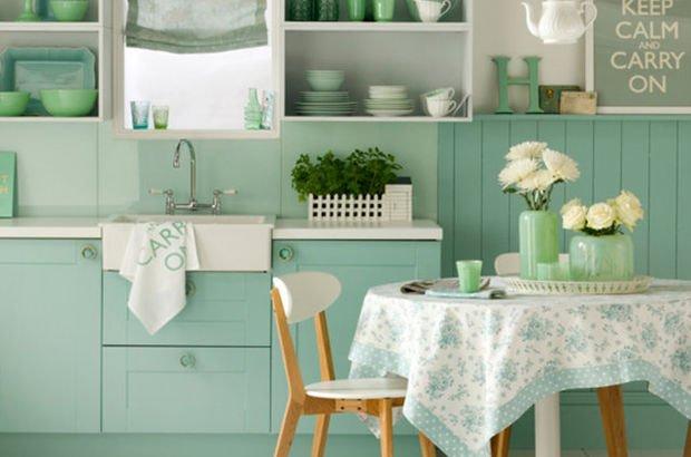 Yeşil mutfak dekorasyon örnekleri...
