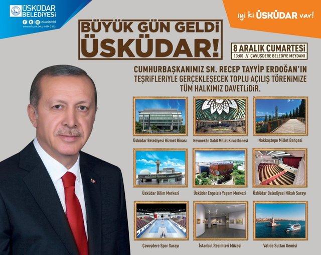 Cumhurbaşkanı Erdoğan, Üsküdar'da 10 farklı proje açılışı yapacak! Peki, hangi projeler var?