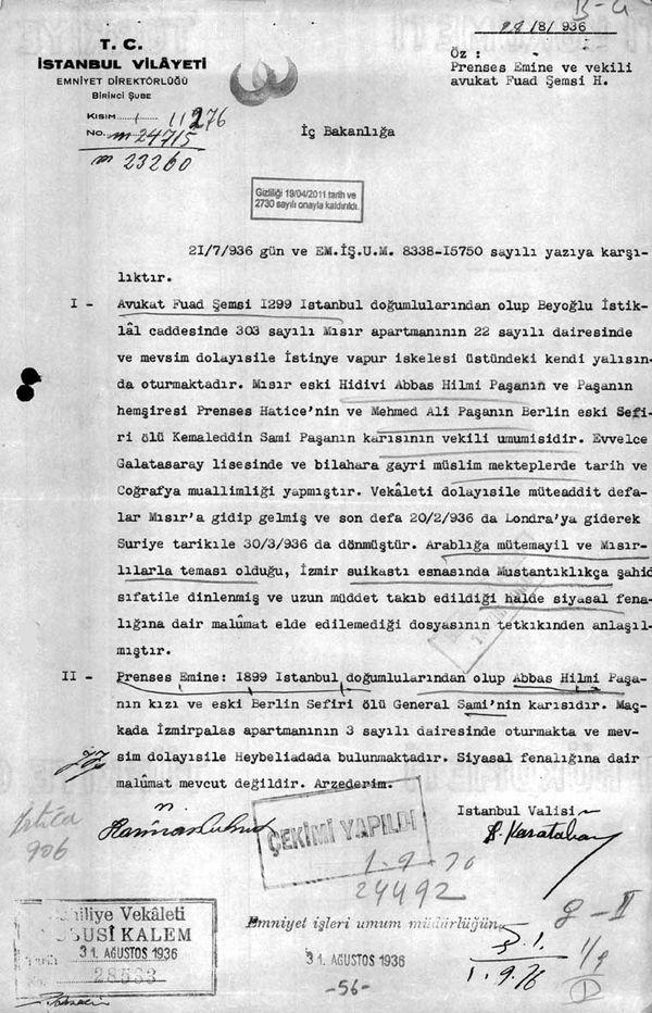 İstanbul Valiliği'nin Mısır Apartmanı'nın sahiplerinden Prenses Emine hakkındaki raporlarından biri (Cumhurbaşkanlığı Arşivleri, Cumhuriyet Arşivi, 121-10-0-0/2-6-1, 56 numaralı belge).