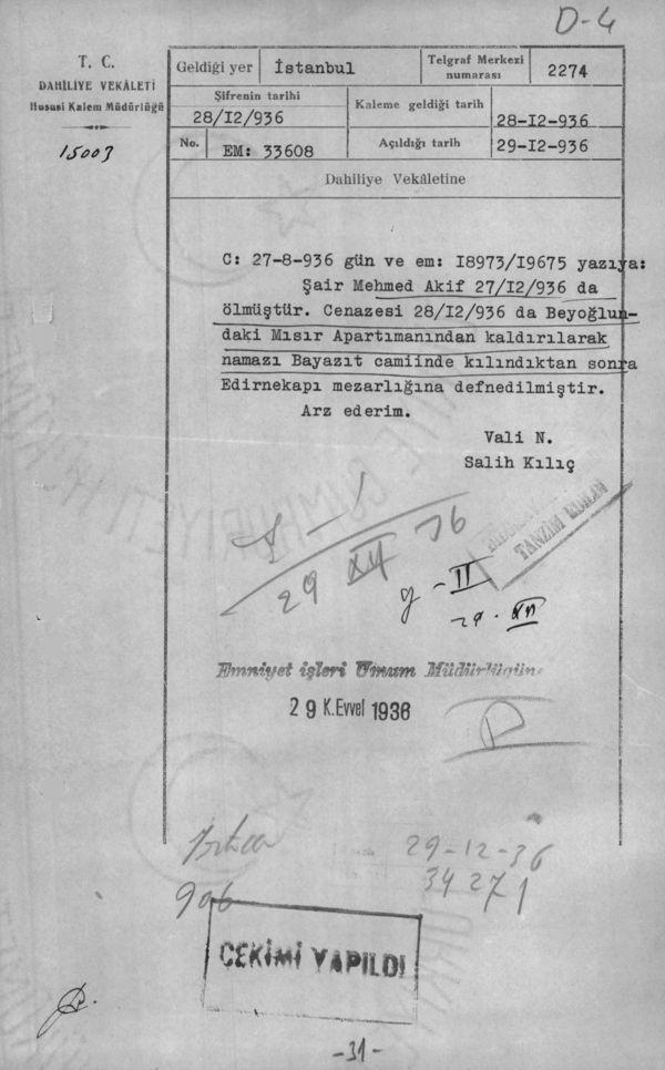 Âkif'in cenazesi hakkında bir başka istihbarat raporu (Cumhurbaşkanlığı Arşivleri, Cumhuriyet Arşivi, 121-10-0-0/2-6-1, 31 numaralı belge).