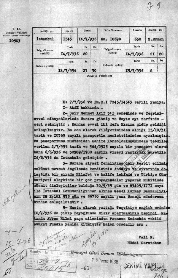 Mısır Apartmanı'nda kalan Mehmed Âkif hakkındaki istihbarat raporlarından biri (Cumhurbaşkanlığı Arşivleri, Cumhuriyet Arşivi, 121-10-0-0/2-6-1, 63 numaralı belge).