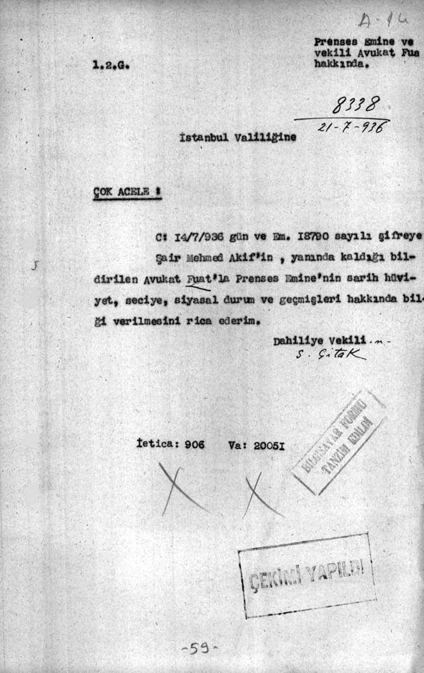 İçişleri Bakanlığı, İstanbul Valiliği'nden Mısır Apartmanı'nın sahibi Prenses Emine hakkında bilgi istiyor (Cumhurbaşkanlığı Arşivleri, Cumhuriyet Arşivi, 121-10-0-0/2-6-1, 59 numaralı belge).
