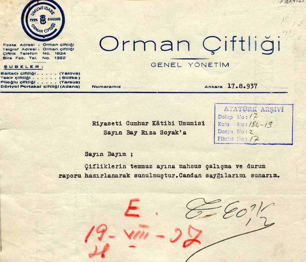 Atatürk'e sunulması için Cumhurbaşkanlığı Genel Sekreteri Hasan Rıza Soyak'a gönderilen raporlardan birinin ilk sayfası (Cumhurbaşkanlığı Arşivi, no: 010224125)