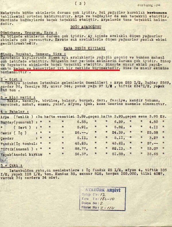 Ticaret Borsası'nın Cumhurbaşkanlığı'na gönderilen bir başka raporu: 26 Mayıs 1936 tarihli raporda, Sinop'ta ekilen kenevirler hakkında bilgi veriliyor (Cumhurbaşkanlığı Arşivi, no: 010224056-14).