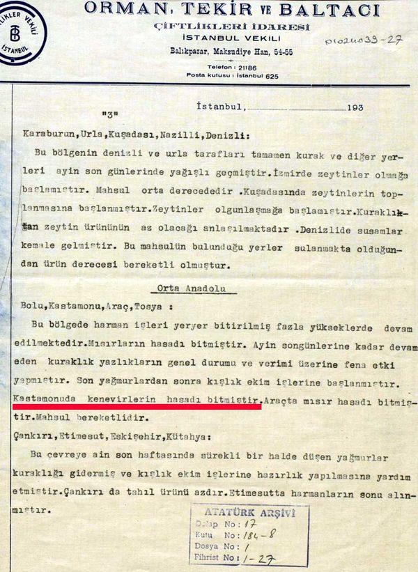 Ticaret Borsası'nın Cumhurbaşkanlığı'na gönderilen 28 Kasım 1935 tarihli raporundaki kenevir bahsi (Cumhurbaşkanlığı Arşivi, no: 010224039-27).