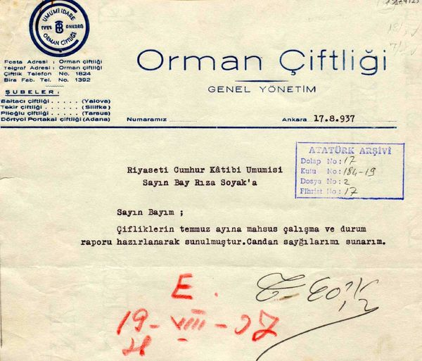 Atatürk'e sunulması için Cumhurbaşkanlığı Genel Sekreteri Hasan Rıza Soyak'a gönderilen raporlardan birinin ilk sayfası (Cumhurbaşkanlığı Arşivi, no: 010224125).