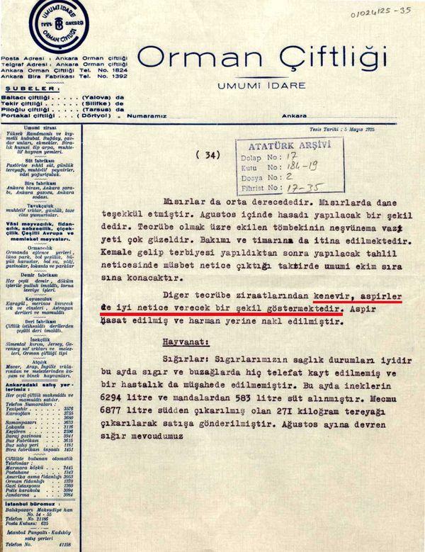 Atatürk'e sunulan tarım ile ilgili bir raporda kenevir üretimi hakkında bilgi veriliyor (Cumhurbaşkanlığı Arşivi, no: 010224125-35).