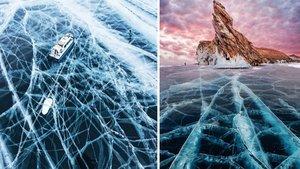 Buz tutan gölün üzerinde tehlikeli yürüyüş