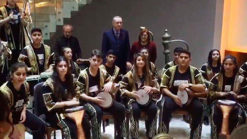 Cumhurbaşkanı Erdoğan'a çocuk ritim grubundan sürpriz karşılama