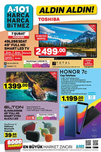 A101 7 Şubat 2019 aktüel ürünler kataloğu: Toshiba Televizyon satılıyor! A101 indirimleri başladı