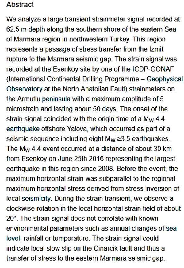 """""""Gizli, yavaş ve sessiz deprem"""" söylentilerinin kaynağı olan akademik makalenin özeti."""