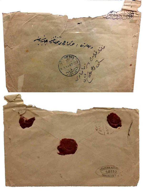 Abdülhamid'in dilekçesini koyup postaya verdirdiği zarf.