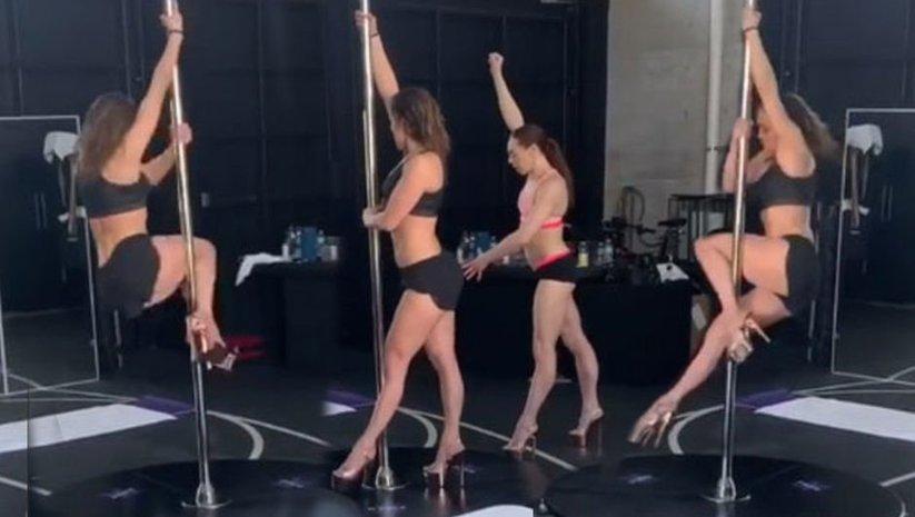 Striptiz derslerine başladı