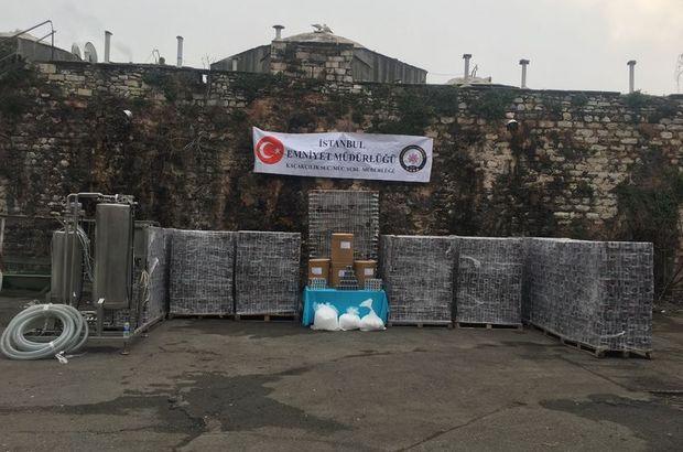 İstanbul'da sahte enerji içeceği operasyonu kamerada