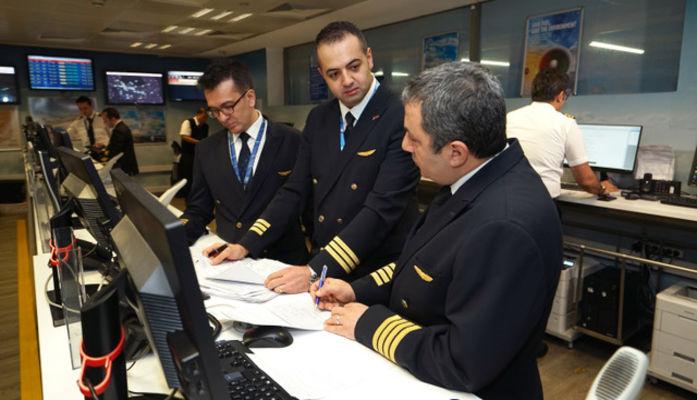 Kokpit ekibi sağdan sola kaptan Nihat Ermiş, pilotlar Ali Emre Çalışkan ve Kamil Ünübol.