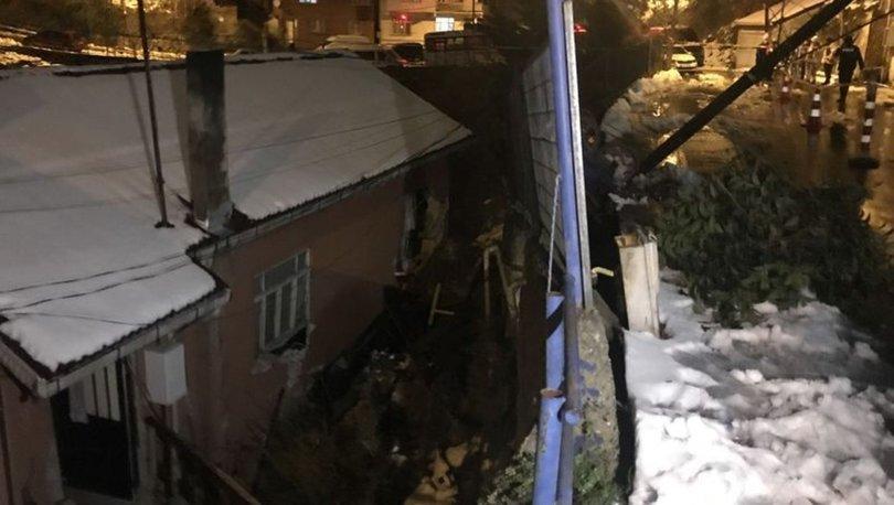 Sarıyer'de istinat duvarı evin üzerine çöktü