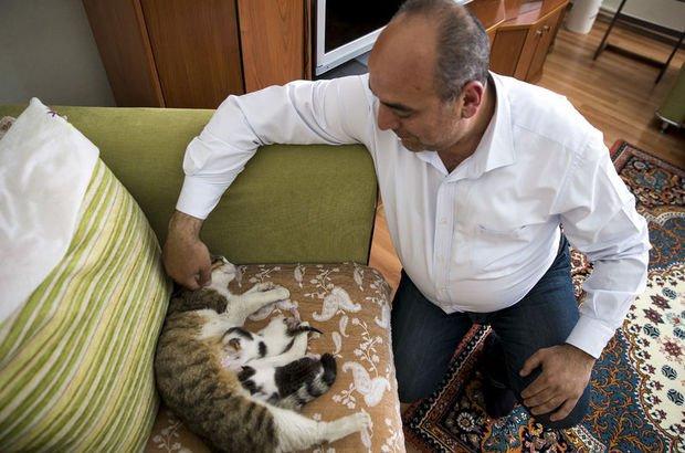Polis memuru suni teneffüsle kurtardığı kedileri sahiplendi