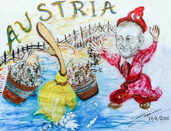 """Türkler'in """"süpürme"""" hevesindeki Avusturyalılar'ın hazırladıkları bir afiş! Bu afişteki zihniyet ile """"Fatih'i Suriyeliler'e teslim etmeyeceğim"""" sözü arasında hiç fark yoktur!"""