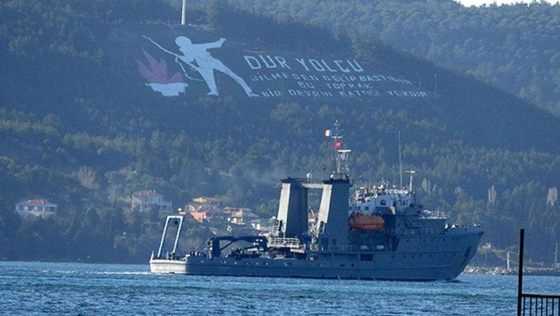 Rumen mayın arama gemisi, Çanakkale Boğazı'ndan geçti