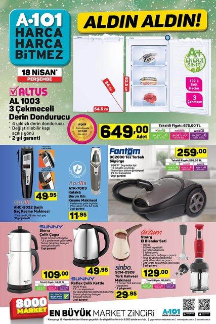 A101 18 Nisan Aktüel ürünler kataloğu! Perşembe günü A101'de hangi ürünler kampanyalı?