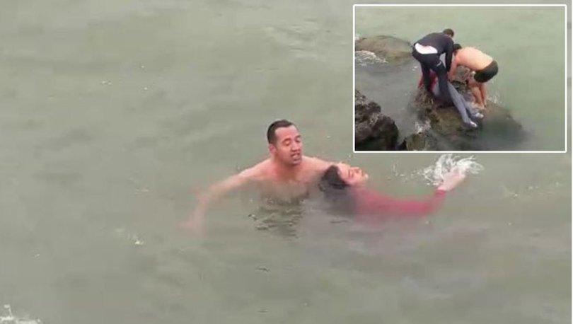 denize düşen kızı polis kurtardı