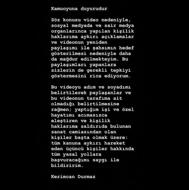 Kerimcan Durmaz'dan skandal görüntülere açıklama: Uygunsuz içerikli videoyu… - Magazin haberleri