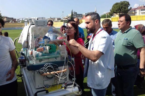 Ambulans helikopter kalp hastası 2 günlük bebek için havalandı