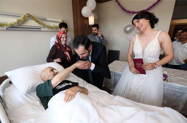 Tek oğlunun muradını hasta yatağında gördü!