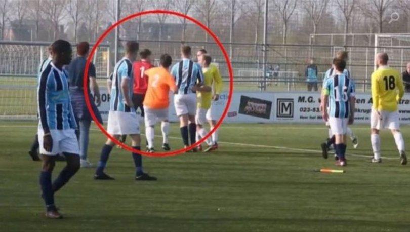 yan hakem futbolcuyu dövdü