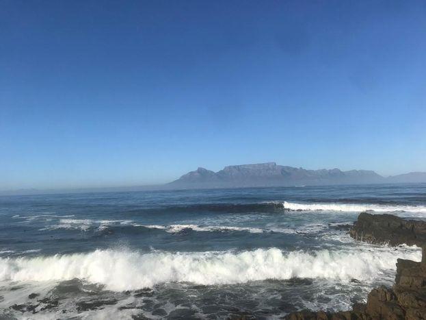 Dev dalgalar ve köpekbalıklarının ardında görünen Cape Town'dan Masa Dağı.