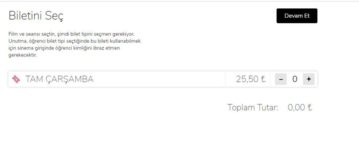 CGV Mars Entertainmet Group'un internet sayfasında indirmli bilet görünmüyor.