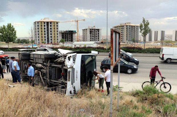 Ankara'da işçi servisi kaza yaptı! Yaralılar var